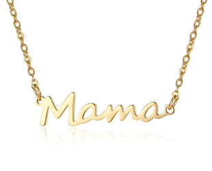 "Cursive ""Mama"" Gold Necklace"