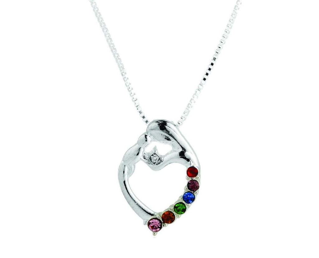 Abstract Mother and Child Gemstone Necklace
