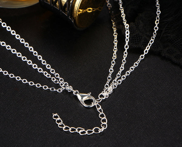Multi layered Chain Necklace with Solitary Zircon