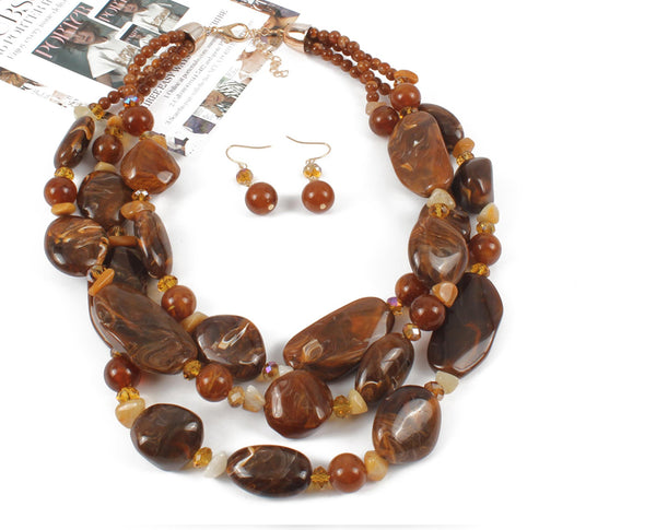 Chunky Caramels Necklace Set