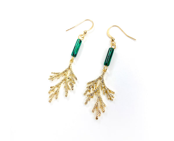 Malachite And Gold Hanging Earrings