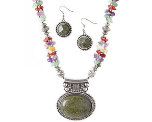 Multi Stone Jasper Pendant Necklace Set