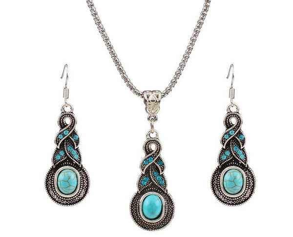 Rhinestone Embellished Weave Drop Pendant Necklace Set