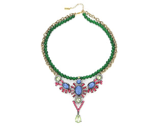 Island Tropical Greens And Blues Statement Necklace