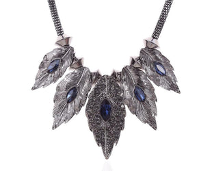 Alluring Birch Aqua Hue Crystal Leaf Statement Necklace