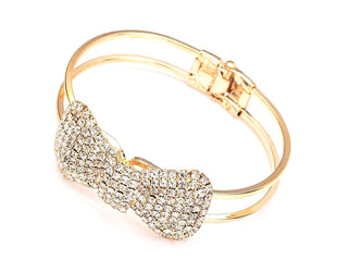 Crystal & Goldtone Bow Hinge Bangle