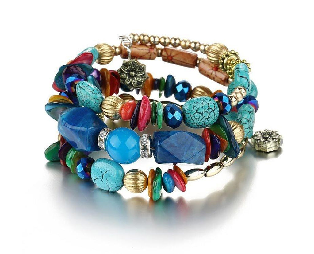 Vibrant Boho Multi Layer Beaded Bracelet