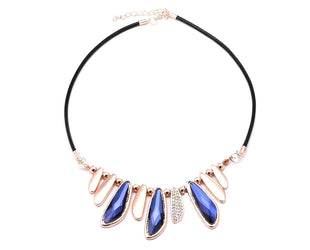 Blue and Gold Elliptical Necklace