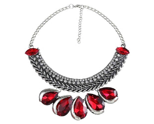 Marquise Cherry Red Tear Drop Bling Statement Necklace Sales
