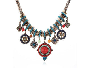 Turk And Caicos Coral Boho Accent Statement Necklace