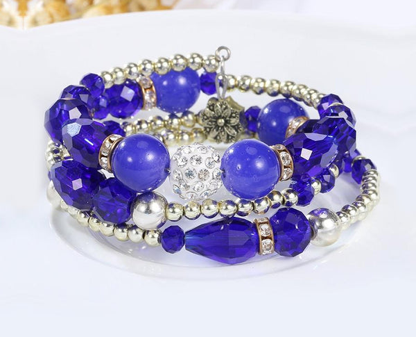 Magical Blue Hues Multi layered Crystal Beaded Boho Bracelet