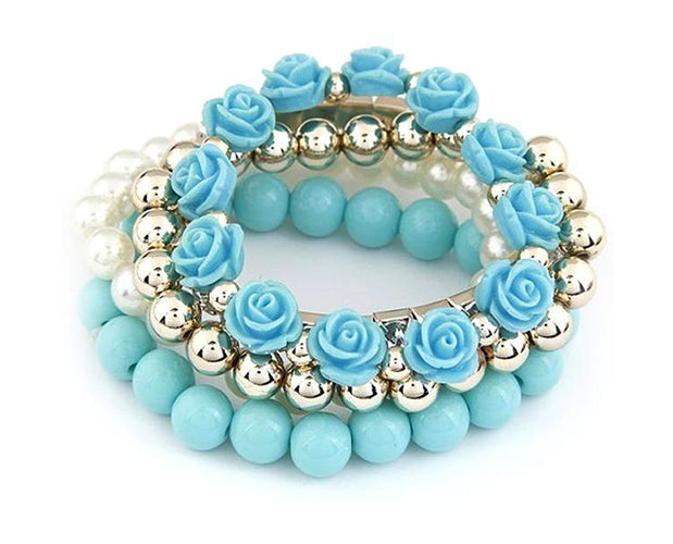 Floral Bead and Rhinestone Bracelet