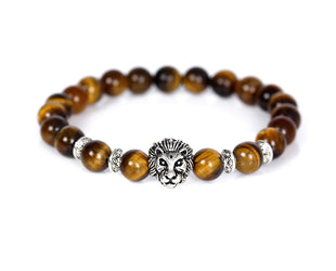Leo Head Tiger Eye Beaded Bracelet