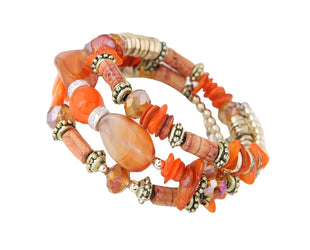 Coral Orange Embellished Beaded Bracelet