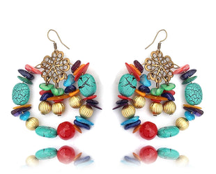 Multicolor Hue Boho Charming Hoops Earrings