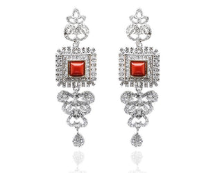 Ruby Red Square Earrings