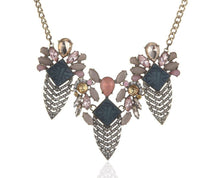 Elaborate Floral Rhinestone Statement Necklace