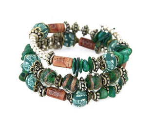 Spectral Green Hand Painted Beaded Boho Multilayered Bracelet
