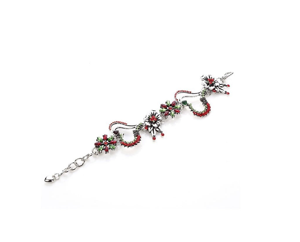 Intertwining Hearts and Bouquets Bracelet