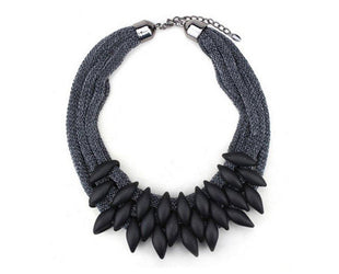 Silky Noir Statement Necklace