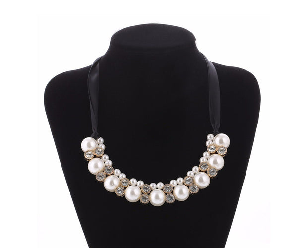 Rhinestone and Pearl Princess Necklace