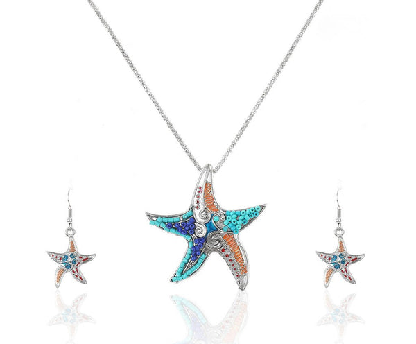 Beaded Starfish Necklace Set