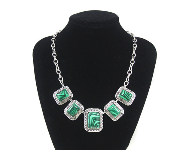 Malachite Studded Crystal outlined statement necklace