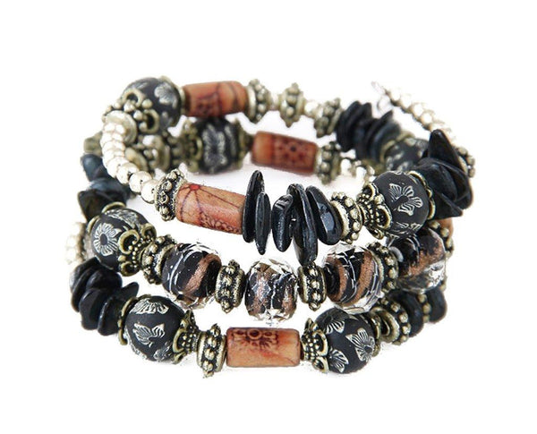 Black Boho Multi Layer Beaded Bracelet