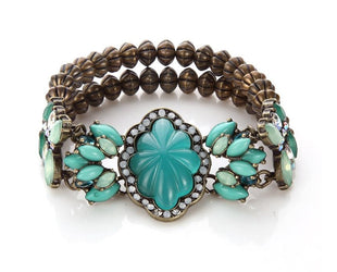 Turquoise Princess-cut Antique Style Bracelet