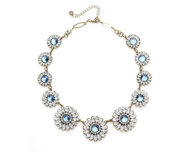 Charming Daisy Aquamarine Crystals Statement Necklace