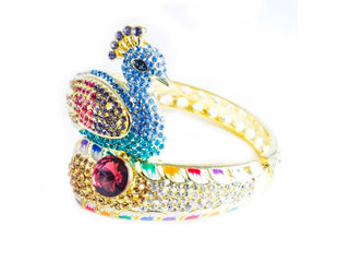 Majestic Peacock Rhinestone Bangle