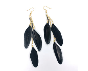 Dangling Trio Feather Earrings