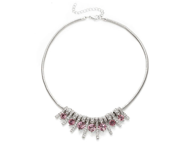 Dangling Fuchsia Crystal Bar Statement Necklace