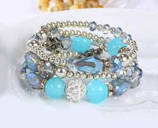 Teal Turquoise Shade Multi layered Crystal Beaded Boho Bracelet