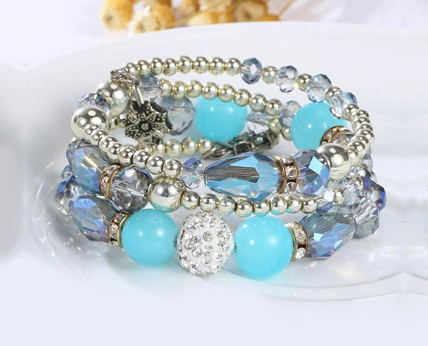 Light Blue Boho Multi Layer Beaded Bracelet