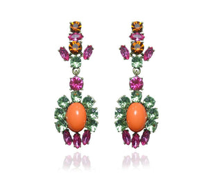 Fuschia And Peridot Lux Chandelier Earrings