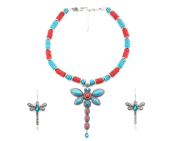 Tribal Southwest Dragonfly Necklace Set