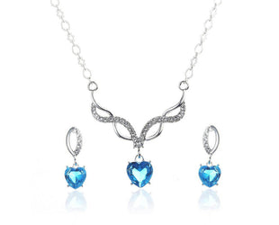 INFINITE LOVE CRYSTAL HEART DROP NECKLACE SET Sales