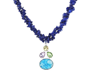 Ocean Blue Pebble and Pendant Necklace Sales