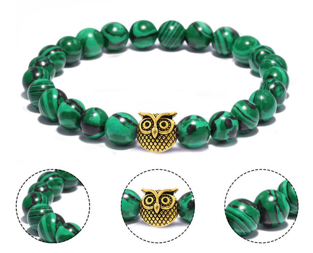 Owl and Malachite Beaded Bracelet
