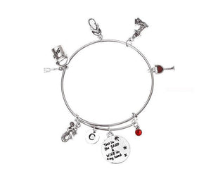 Toes in the Sand Wine In My Hand Bracelet with Initial and Birthstone