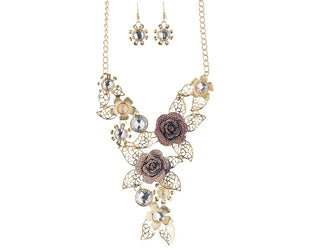 Glittering Roses Statement Necklace Set