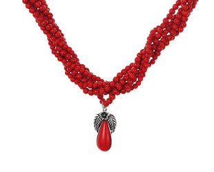 Red Infinity Pear Drop Necklace