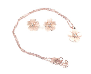 Floral faux-zircon studded Necklace with Earrings