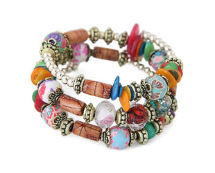 Colorful Hand Painted Beaded Layered Boho Bracelet