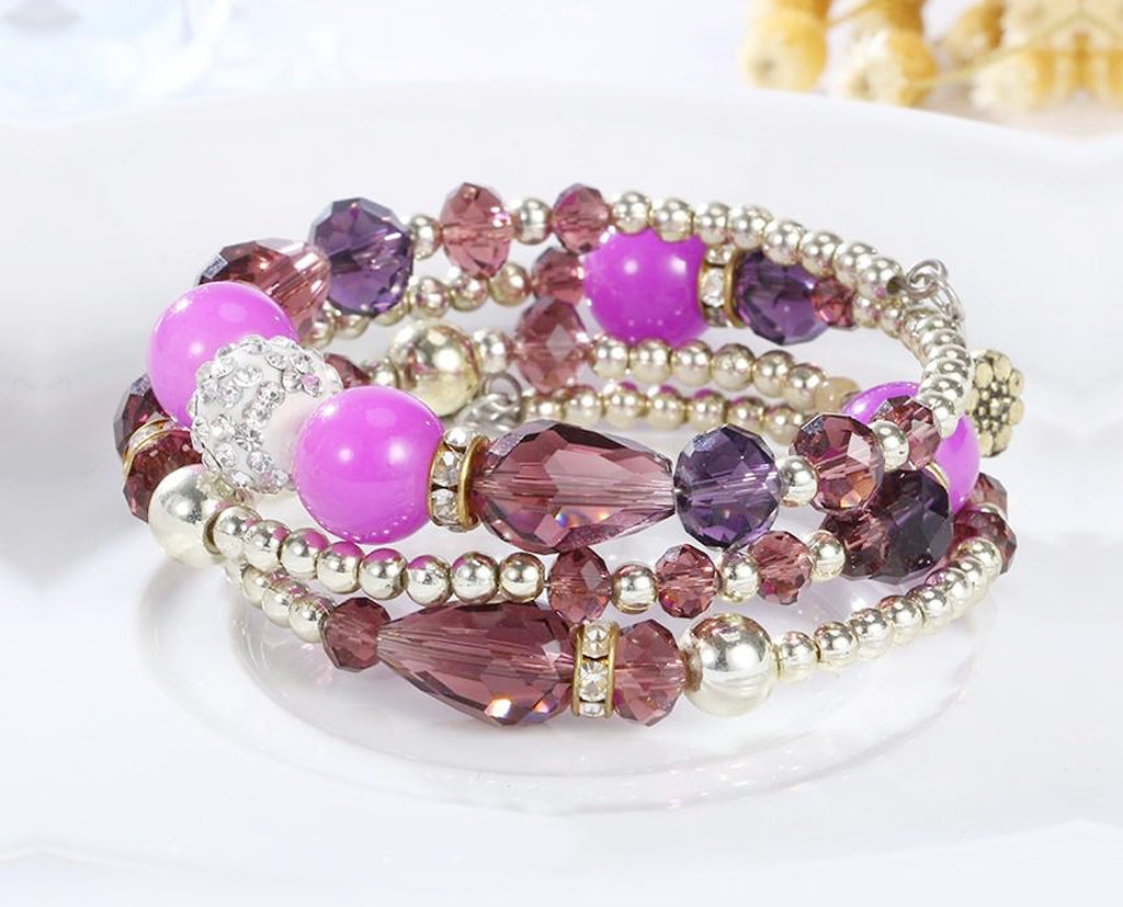 Fuchsia Boho Multi Layered Beaded Bracelet