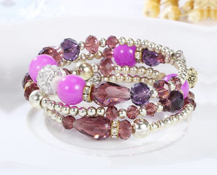 Majestic Purple Harmony Multi layered Crystal Beaded Boho Bracelet