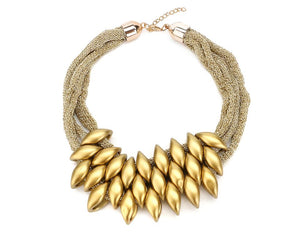 Egyptian Silkeen gold Eclairs Statement Necklace