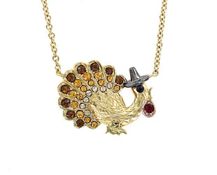 Thanksgiving Cheer Turkey Jeweled Necklace
