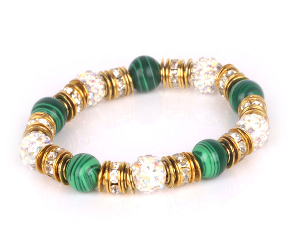 Glorious Malachite and Rhinestone Bracelet